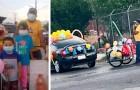 L'école organise un défilé avec les voitures des parents : n'en ayant pas, un papa est arrivé avec son vélo