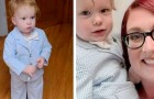 A mom takes her one-year-old son with her to a job interview and dresses him in an elegant jacket and bow tie