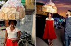 A street vendor is photographed by chance and suddenly becomes a successful model