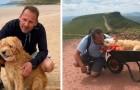 Al suo cane restano pochi giorni, lui lo trasporta su una carriola per un'ultima avventura insieme