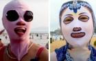 Diese Gesichtsbedeckung wird von chinesischen Frauen getragen, damit ihre Gesichter von der Sonne nicht gebräunt werden