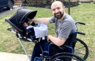 Construyen un cochecito para este papá discapacitado: ahora puede salir con su hijo sin problemas