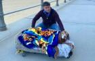 Transporta o cão idoso e doente em uma caminha para fazerem o último passeio ao ar livre