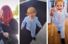 Porta con sé il figlio di un anno al colloquio di lavoro e lo veste con giacca e papillon