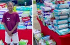 An 11-year-old boy sells lemonade on the street to buy nappies for moms in need