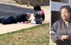 A policeman gets down on the ground to play with dolls with some girls: they were afraid of him