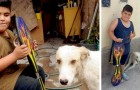 A child adopts a sick dog and sells his skateboard to pay for its treatment