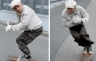Op 73-jarige leeftijd slaagt hij erin om te skateboarden als een tiener: zijn vaardigheden gaan het web over