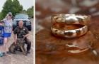 Ritrova la sua fede nunziale smarrita nella sabbia grazie all'aiuto di un cane poliziotto