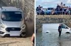 Er ignoriert das Parkverbot und parkt am Strand: Die Flut nimmt ihm den Van weg