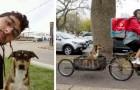 Repartidor modifica su bicicleta para llevar siempre consigo al perro que salvó de la calle