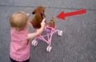 A menininha empurra o carrinho e ele relaxa