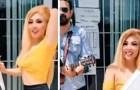Skiljer sig från sin man och firar det genom att dansa och sjunga framför kommunalkontoret