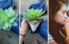 Ze zorgt voor haar plant en pas na 2 jaar realiseert ze zich dat het een kunstplant is: