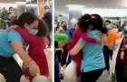 Een 5-jarig meisje is genezen van kanker en rent om haar favoriete verpleegster te omhelzen: een ontroerende scène