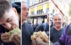 Un TikToker relève le défi et mange un hamburger géant devant des manifestants vegans