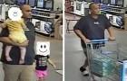 A polícia pede aos usuários que reconheçam o homem que roubou as fraldas, mas todos se oferecem para pagar por elas