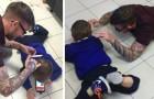 Kapper ligt op de grond om een autistisch kind gerust te stellen wiens haar hij moest knippen