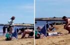 Han gräver en grop på stranden för att hans gravida fru ska kunna lägga sig ner - ett bevis på äkta kärlek