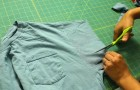 She makes some cuts on the sleeves of an old T-shirt ...I can't wait to try this !