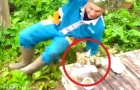 Ein Angler hat einen Fisch gefangen, aber ihn erwartet eine witzige Überraschung