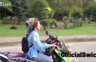 La donna viaggia con un pappagallo