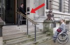 This disabled woman can't go up the stairs, but look what happens by pressing one button