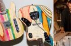 Un ragazzo trasforma vecchi skateboard in chitarre uniche realizzate a mano