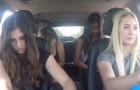 4 Mädels rocken im Auto ab, aber sobald sie den Blick abwenden, seid ihr sprachlos