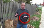 With a simple addition, this man invents a BRILLIANT way to pick up leaves