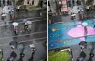 Queste strade sembrano normali, ma nei giorni di pioggia si accendono di colori