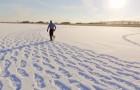 Sembra solo un uomo che vaga nella neve, ma guardando dall'alto tutto cambia...