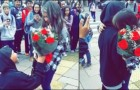 A boy surprises his girlfriend after school ... you don't see this happening often anymore!