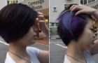 This girl has normal dark hair, but when she touches them ... OMG !