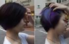 Cette fille a des cheveux foncés normaux mais quand elle les bouge... surprise!