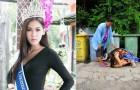 Miss Thailandia ringrazia in ginocchio sua madre, che l'ha cresciuta raccogliendo spazzatura