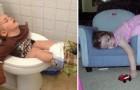 20 kinderen die op bizarre plaatsen in slaap zijn gevallen
