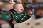 Un bebè prueba la panceta por primera vez: su reaccion es EPICA