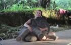Un éléphant de 2 semaines s'assoit à côté d'elle et lui offre un moment INOUBLIABLE