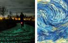 Een lichtgevend fietspad geïnspireerd op motieven van de beroemde schilder Van Gogh