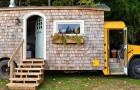 Ein Ehepaar wählt einen Schulbus als ihr Zuhause und verwandelt ihn in ein Heim voller Komfort