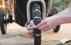 Put plastic tie bands on baby stroller wheels -- a trick that all moms will love!
