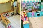 Elle construit une cuisine pour sa fille en utilisant uniquement des cartons: résultat magnifique et presque gratuit!