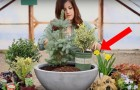 A girl puts different plants in a large vase pot --- The end result is absolutely magical!