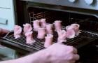 Put some bacon strip rolls in the oven to make