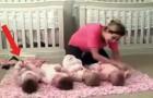 Eine Mama legt ihre Vierlinge auf den Boden. Behaltet den Linken im Auge... Witzig!