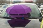 Polizisten fixieren einen Schirm auf dem Auto...aus einem wirklich originellen Grund