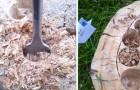 Ecco come un vecchio tronco di legno può trasformarsi in un magnifico oggetto d'arredamento