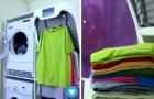 Every homemaker's dream! --- A machine that dries, irons, and folds clothes!