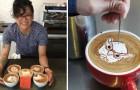 Een barista begint voor de gein met het opleuken van kopjes cappuccino: de resultaten overtreffen de stoutste verwachtingen